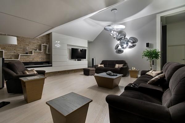 Gdansk modern apartment living room neon