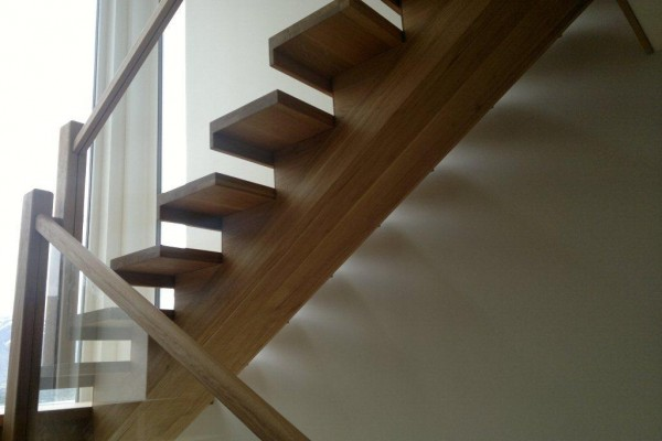 custom joinery wood stairs glass