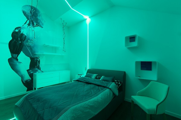 Gdansk modern apartment neon bedroom